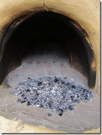 Ash and embers after firing